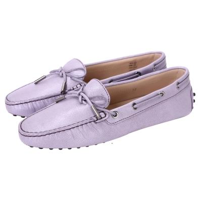 TOD'S Gommino 壓紋牛皮綁帶豆豆休閒鞋(女鞋/淺紫色)