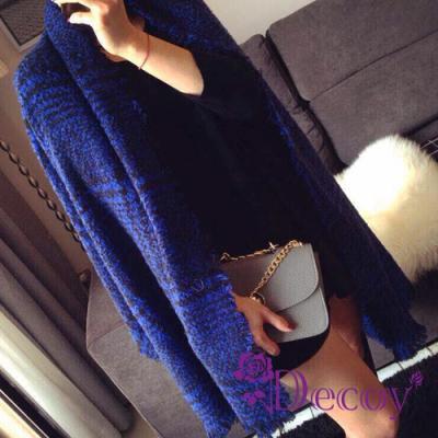 Decoy 黑線藍格 毛絨保暖流蘇圍巾 藍