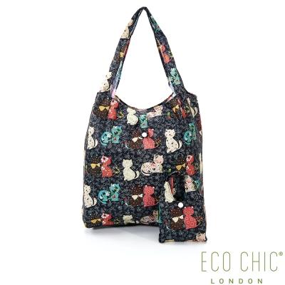 英國ECO CHIC折疊購物袋-花貓