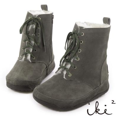 iki2機能雪靴-真麂皮鞋帶拉鍊厚底雪靴-淺灰綠