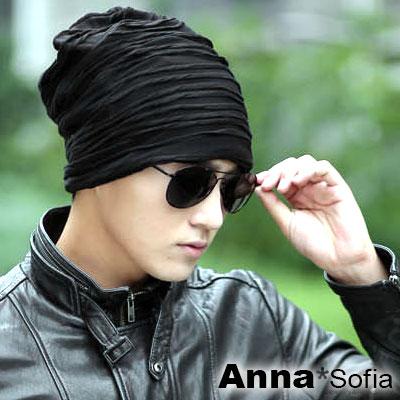 AnnaSofia-波浪織捲紋-保暖針織毛線毛帽-酷黑
