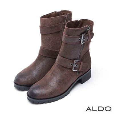 ALDO 真皮雙金屬釦帶木紋粗跟短靴~個性深棕