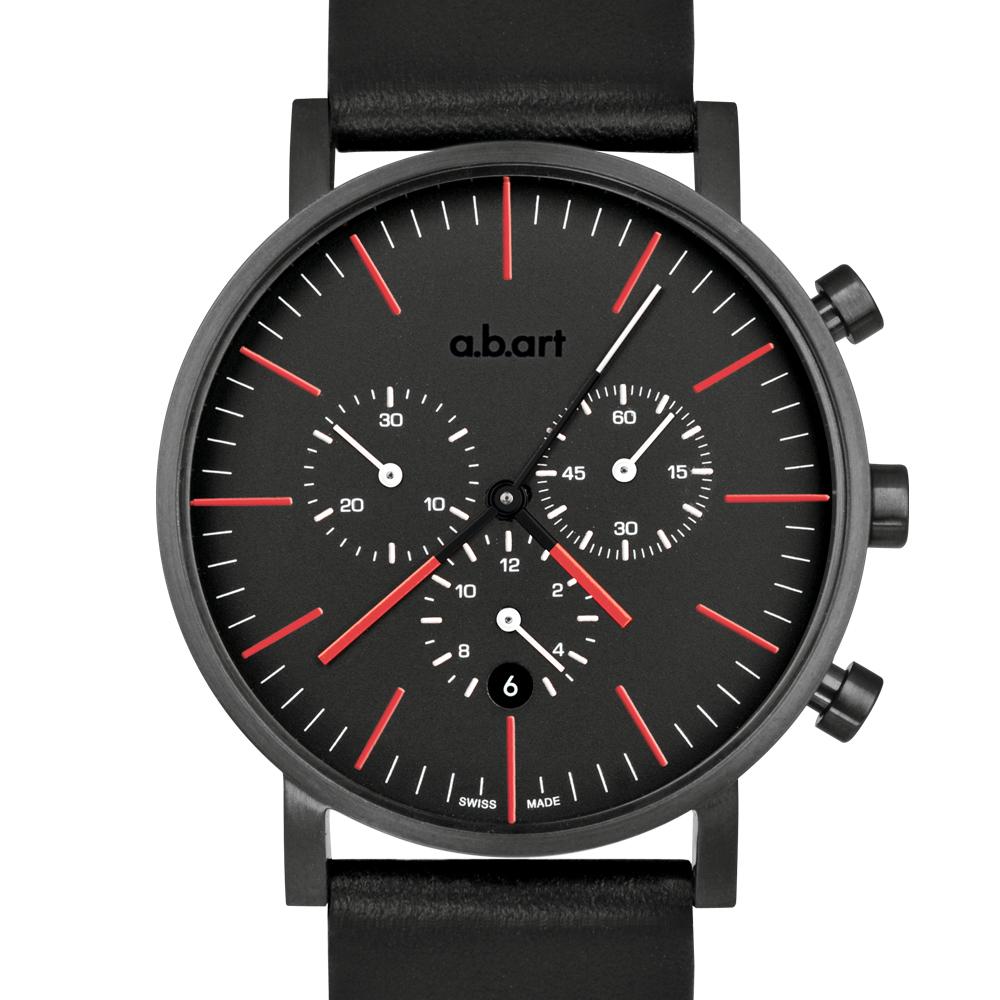 a.b.art OC 包浩斯極簡之終極車隊三眼計時碼錶-黑紅/40.5mm