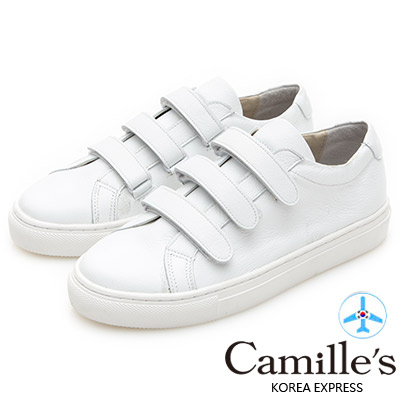 Camille's 韓國空運-正韓製-軟牛皮三條魔鬼沾休閒小白鞋-白色