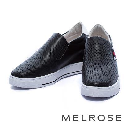 休閒鞋 MELROSE 撞色織帶全真皮內增高厚底休閒鞋-黑