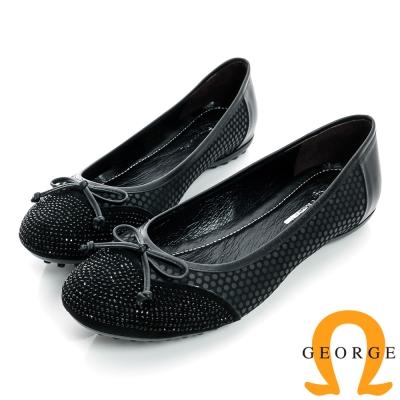 GEORGE-水鑽蝴蝶超柔軟彈性真皮內增高平底娃娃鞋-黑色