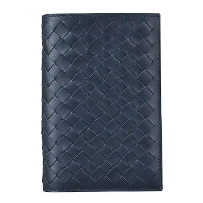 BV BOTTEGA VENETA 經典手工編織牛皮對折中型短夾(午夜藍)