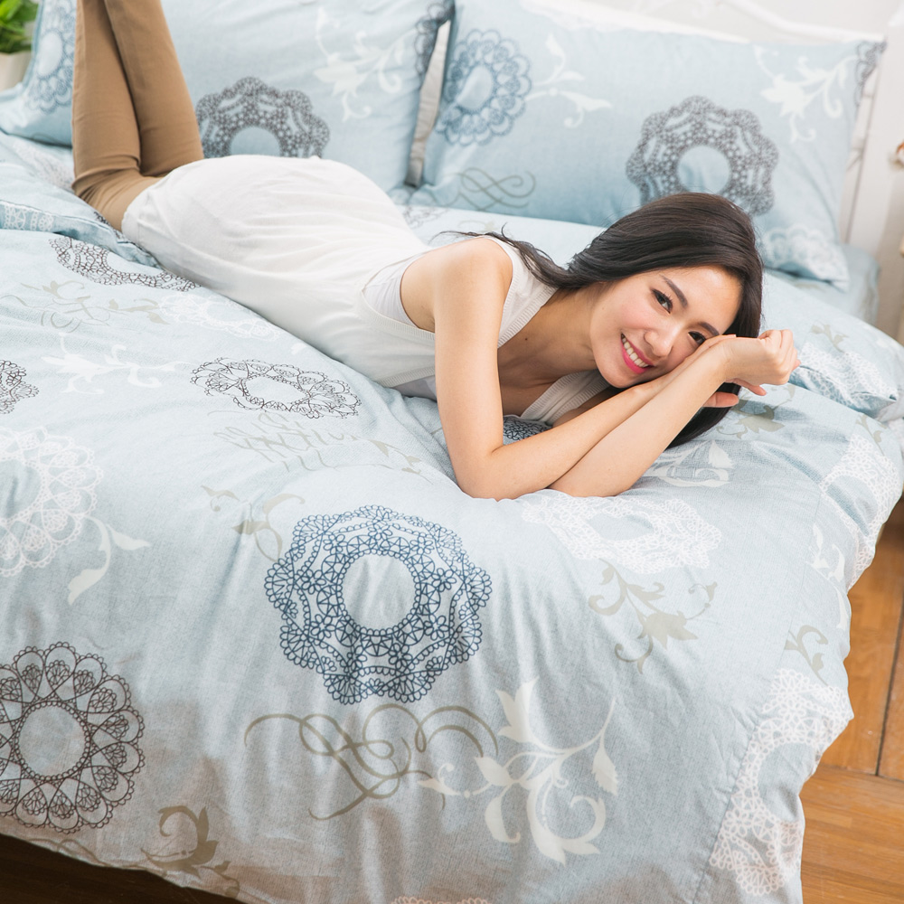 eyah宜雅 台灣製100%頂級精梳棉新式兩用被單人床包被套四件組 希爾德斯海姆的銀色耶誕