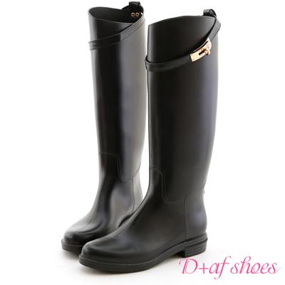 D+AF 貴族風尚‧金色鎖釦高質感長筒雨靴*黑