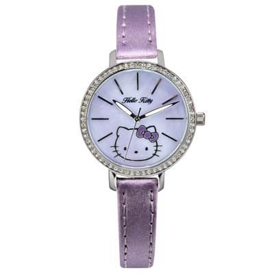 HELLO KITTY凱蒂貓晶鑽立體錶 淡紫/淡紫面/34mm