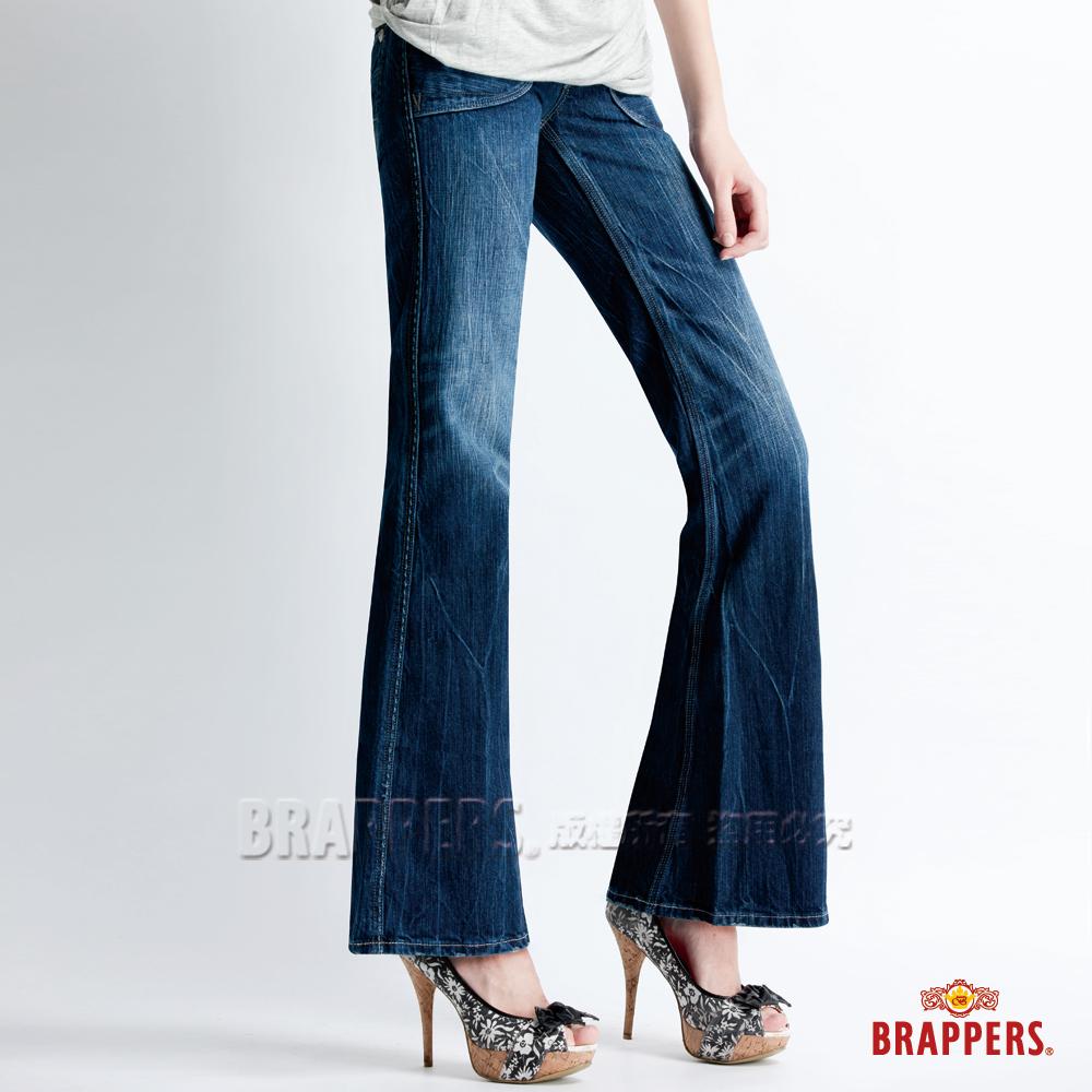 BRAPPERS 女款 Lady Vintage 系列-中低腰大靴型褲-淺藍