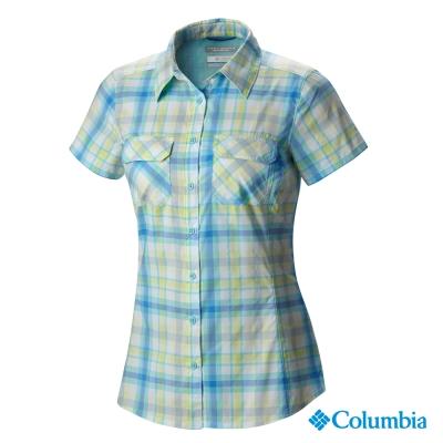 【美國Columbia哥倫比亞】短袖防曬30快排襯衫-女-藍(UAK79930AB)