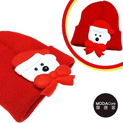 摩達客 兒童 小白熊蝴蝶結 毛線針織帽(紅色)