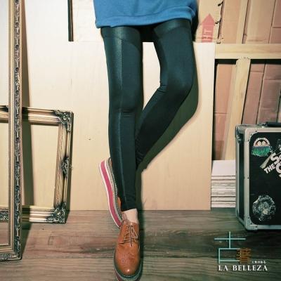 【La Belleza】古著‧亮面皮質拼接膝蓋壓車線刷毛內搭褲