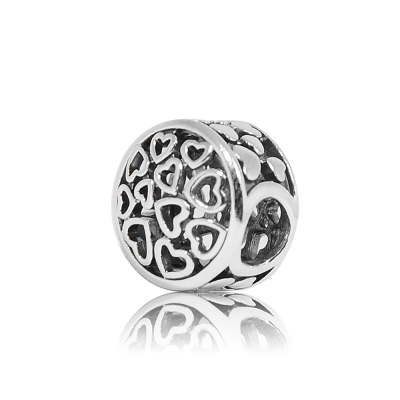 Pandora 潘朵拉 圓形鏤空多心魅力 純銀墜飾 串珠