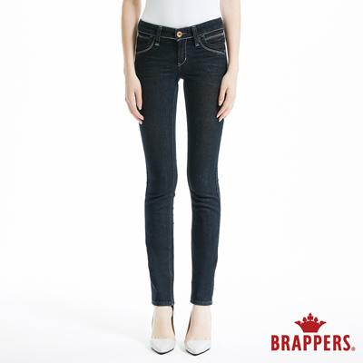 BRAPPERS 女款 新美腳Royal系列-彈性中低腰鑲鑽窄管褲-深藍
