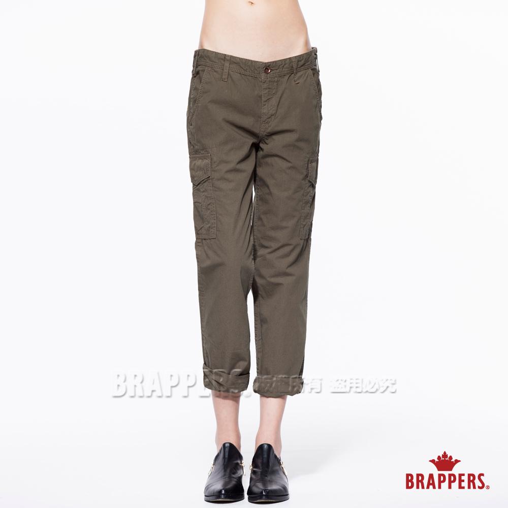 BRAPPERS 女款 Boy Friend Cargo-女用中低腰八分反摺褲-綠