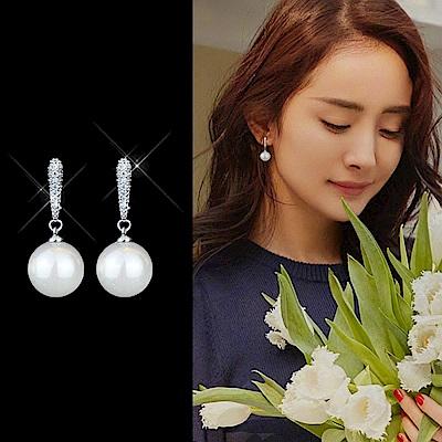 梨花HaNA 維多利亞的純淨微鑲珍珠925銀耳環