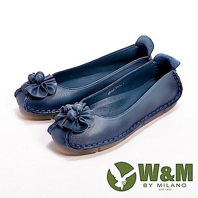 【W&M】 真皮柔軟花朵朵休閒女鞋-藍(另有黑/駝)
