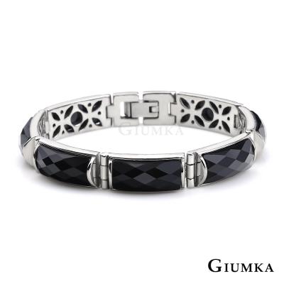 GIUMKA 貴氣半寶等級黑瑪瑙 白鋼手鍊-七節