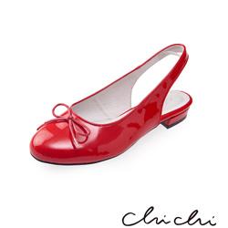 Chichi 圓頭蝴蝶結後縷空平底鞋*紅色