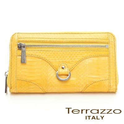 義大利Terrazzo - 時尚蛇皮造型五金拉鏈長夾-黃色72S0692A