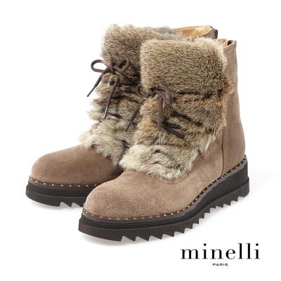 Minelli--溫暖毛絨厚底短靴-溫暖咖