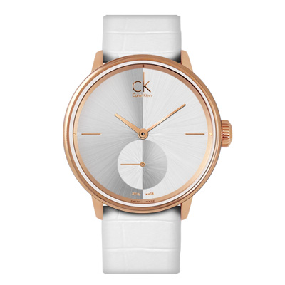 CK Accent 摩登獨立小秒針時尚腕錶-銀x玫瑰金/40mm