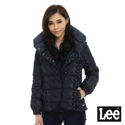 Lee 羽絨幾何圖形外套80%羽絨-女-藍