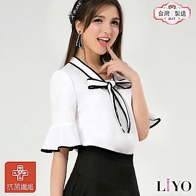 襯衫MIT抗菌除臭黑白拼接荷葉袖OL綁帶女裝上衣LIYO理優-專利系列