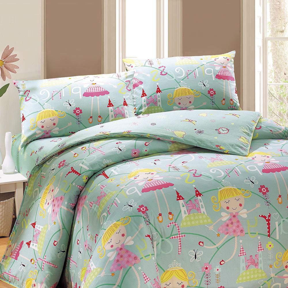 鴻宇HongYew 100%美國棉 防蹣抗菌-公主城堡-綠色-單人床包枕套兩件組