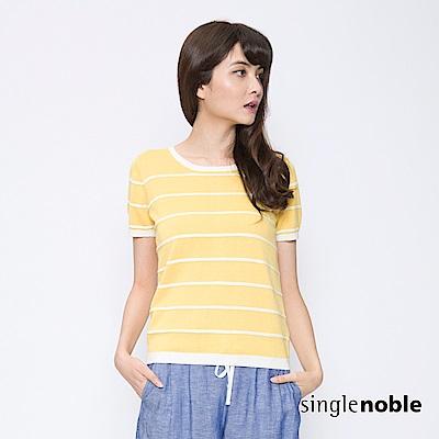 獨身貴族 夏日記憶圓領配色條紋針織衫(2色)
