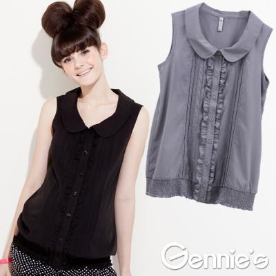 【Gennie's奇妮】輕量寬版~雪紡氣質褶飾孕婦背心上衣-灰(G 3321 )