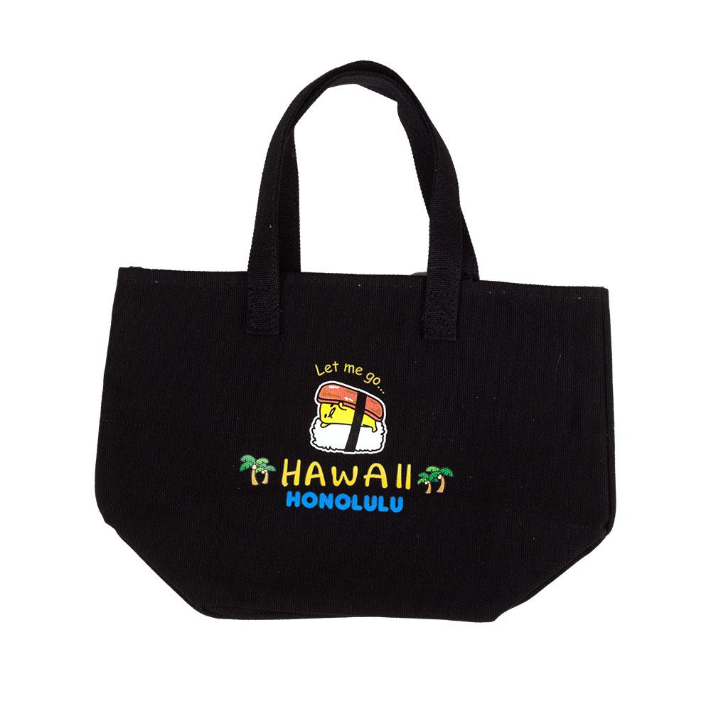 Sanrio 蛋黃哥美國版夏威夷系列帆布便當袋(夏威夷飯糰黑)