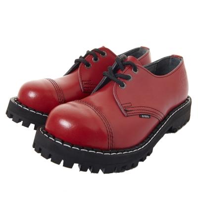 STEEL BOOTS歐洲經典3孔鐵頭鞋-紅色