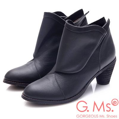 G.Ms. 全牛真皮三角側釦粗跟踝靴-黑色