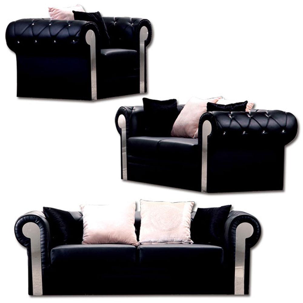 《居家生活》奢華風尚1+2+3人黑皮沙發組