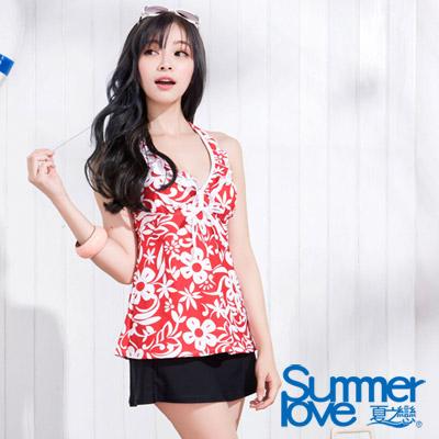 夏之戀SUMMERLOVE 紅白花紋長版三件式泳衣