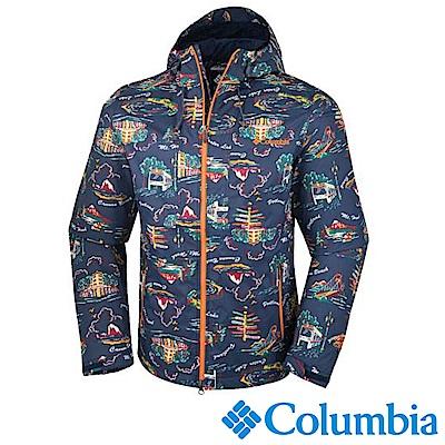 Columbia哥倫比亞 男款 OT 連帽外套藍色花紋 (URE10410BJ)