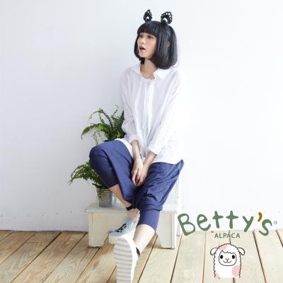 betty's貝蒂思 拼布鈕扣造型飛鼠褲(藍色)