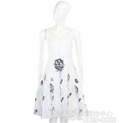 PIEIES UNIQUES白/黑色印染花卉無袖洋裝