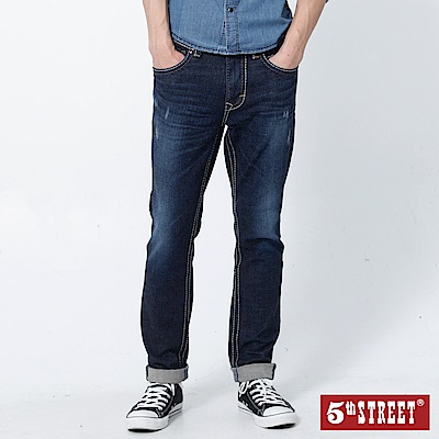 5th STREET 1970微破粗線直筒牛仔褲-男-原藍色