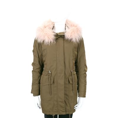 MAX MARA-SPORTMAX 墨綠色兩件式羊絨毛領連帽大衣