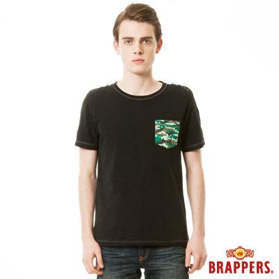 BRAPPERS 男款迷彩印花口袋短袖T恤-黑