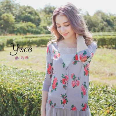東京著衣-yoco 田園女孩春氛花朵針織外套-S.M(共三色)