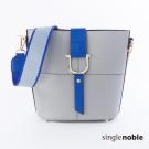 獨身貴族 時髦復古雙色拚色金屬環磁扣設計肩背包(2色)