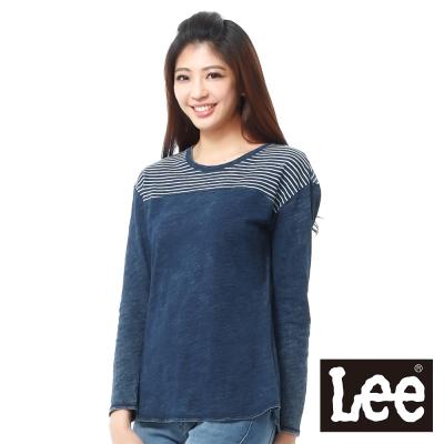 Lee-101-長袖T恤-拼接設計-女款-藍