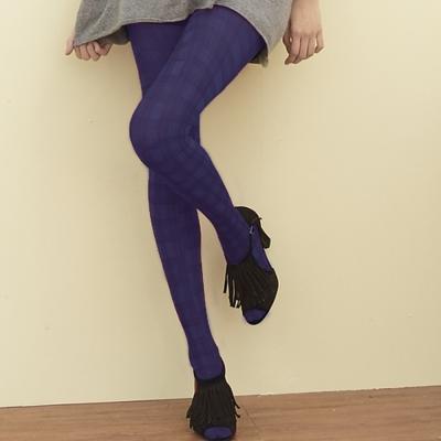 I-shi 雜誌ViVi-蘇格藍格內搭印花襪(紫)