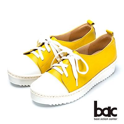 bac舒適鞋墊-撞色綁帶後切軟底包鞋-黃色