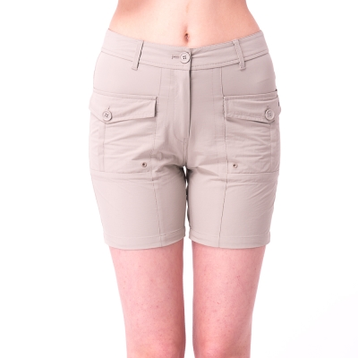 【hilltop山頂鳥】女款吸濕排汗抗UV彈性短褲S09F60-卡其